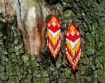 Native American beaded earrings, Beadwork, Dangle Drop, Multicolor, Seed beads earrings, Indian earrings