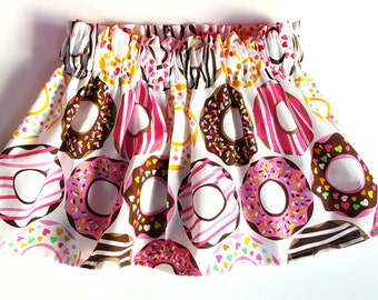 Donut skirt, donuts, baby skirt, toddler skirt, girls skirt, pink and white, birthday outfit