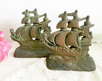 Cast Iron Ship Bookends. Pirate Ship, Nautical Decor, Library Office Home Decor.