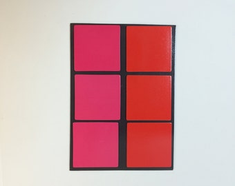 Square Flat Magnets - Pink and Red
