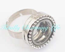 High Quality Alloy Living Locket Adjustable Ring with Rhinestones Living Memory 20mm Locket for Living Memory Floating Charms Owl