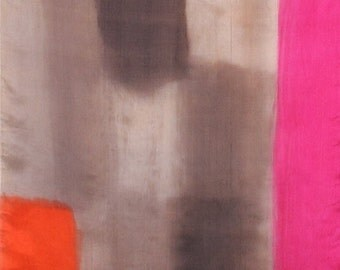 Scarf silk. Hand painted silk scarf Fuchsia Line. Dim grey scarf with fuchsia pink and orange.Modern stylish scarf.Painting on silk by Dimo