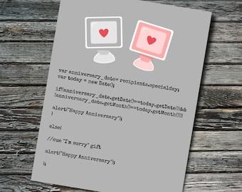 Javascript Nerdy Anniversary Card | Programmer, Web Developer, Professor, Teacher, Student