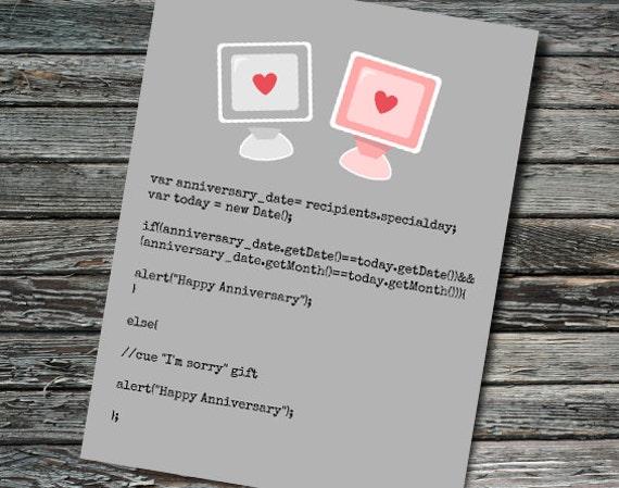 Javascript Nerdy Anniversary Card | Programmer, Web Developer ...