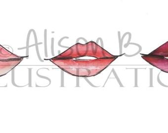 Fashion Illustration print - Lips print - lip print - Vanity decor