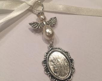 Bridal Bouquet Angel Oval Photo Frame Memory Charm Wedding Handmade Swarovski Beads
