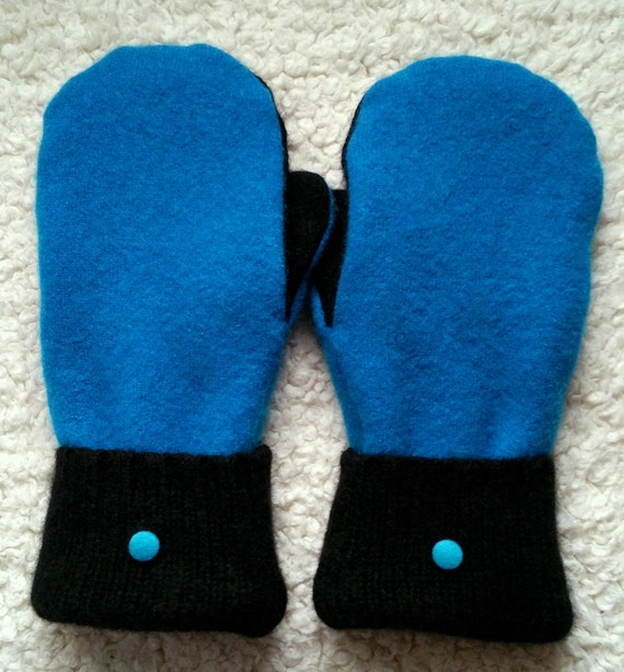 Mittens Wool Recycled Cashmere Sweaters Turquoise Black Fleece