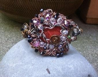 "Wire Jewelry, Bracelet, Handmade- Crystal, Spiral, Heart, Bronze, Hematite, Silver (L- 8.5"")"