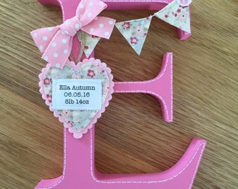 Personalised freestanding wooden with fabric heart.
