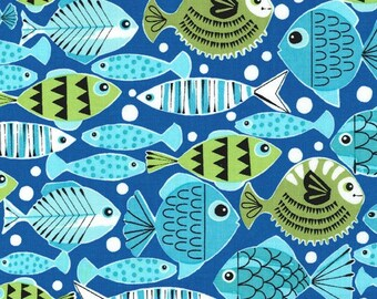 QUILTING COTTON FABRIC Michael Miller School's Out Fish Fabric in Blue. Sold by the 1/2 yard