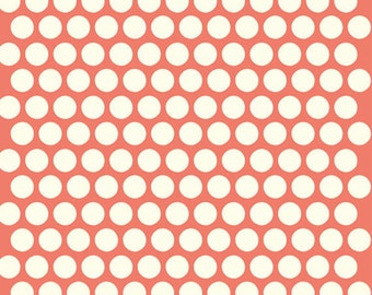 Dottie Cream Coral Mod Basics 3 Collection Birch Organic Fabrics, Sustainable Low Impact Dye Cotton Fabric