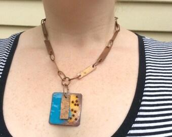 Copper enamel necklace - Aussie Blue  - sale