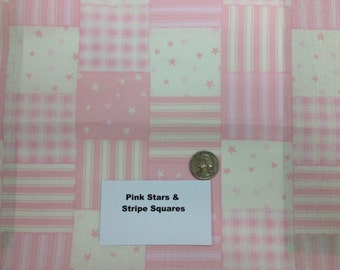Pink Stars and Stripes Squares - 2 Yards