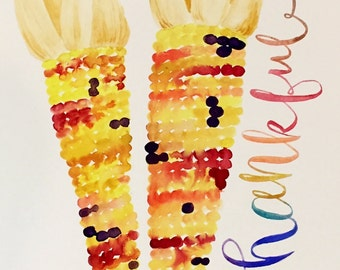 Fall Autumn Thanksgiving Indian Corn Watercolor Print