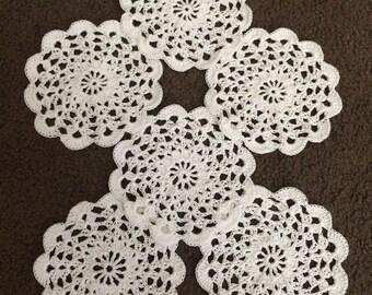 Handmade crochet doily coasters set of 6