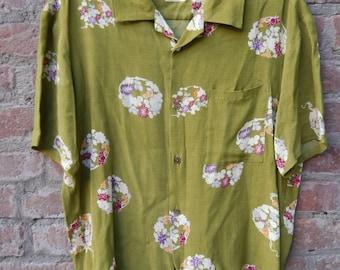 Kiduta Rayon Japanese Floral Atomic Hawaiian Shirt