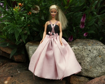 CLOSING DOWN SALE  1:6 Scale Black and Dusty Pink Dress for Barbie Dolls, Black Sparkly Denim, Barbie Clothes, Evening Gown for Barbie Dolls