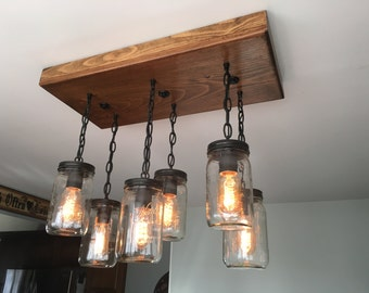Mason Jar Light - Mason Jar Chandelier - Mason Jar Decor - Rustic Lighting - Rustic Decor
