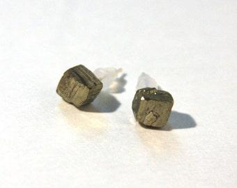 Petite Pyrite Cube Earrings