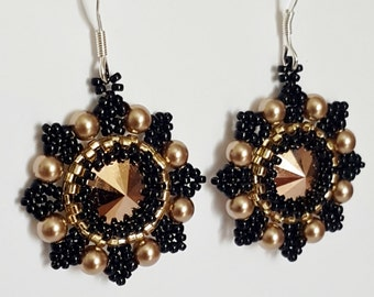 Pearl Earrings // Swarovski Pearl Earrings // Swarovski Earrings // Rivoli Earrings // Gold Earrings