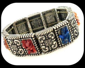 Vintage FAUX Lapis Coral & Tiger' Eye Pieces Filigree Silver Stretch BRACELET