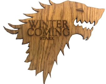 """Game of Thrones Inspired House Stark """"Winter is Coming"""" Wooden Direwolf Sigil"""