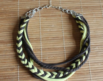 Multi-strand textile necklace, braided necklace