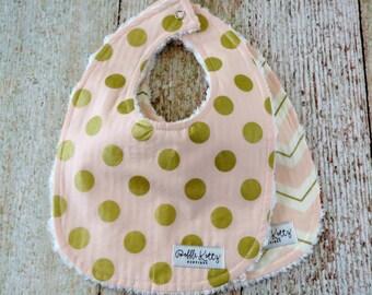 Baby Bibs - Baby Girl Bibs - Pink Gold Bibs - Chevron Bib - Chenille Bibs - Gold Polka Dot Bib - Baby Shower Gift - Valentines Gift