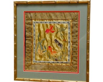 Framed Chinese Silk Embroidered Panel in a Gilt Faux Bamboo Frame