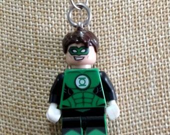 Green Lantern Necklace - (LEGO® Minifigure) - Green Lantern of Earth, Hal Jordan, Superhero