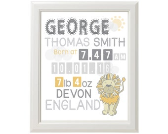 "Lion Birth Announcement/Wall Art - DOWNLOADABLE PRINT - 8"" x 10"""