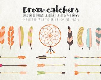 Colorful Arrow Clipart, Feather Clipart, Dream Catcher Clipart Clip Art PNG & Vector EPS, AI Design Elements Digital Instant Download