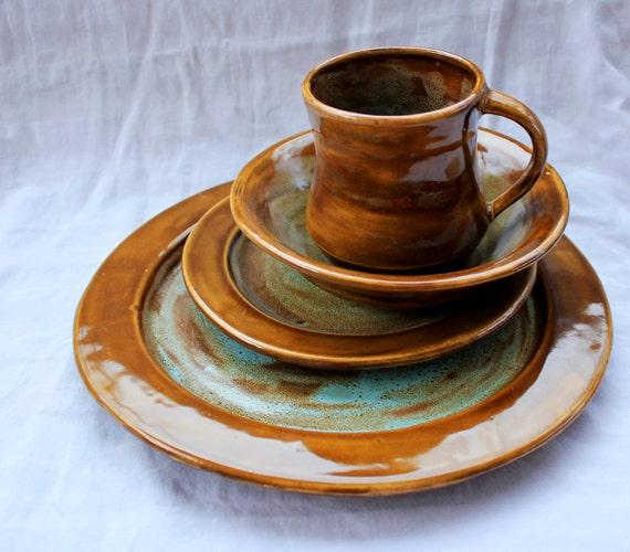 Art Deco Dinnerware Set Handmade Stoneware Pottery