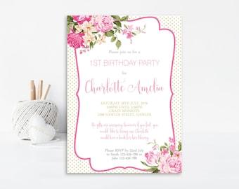 1st Birthday Invite, Girls 1st Birthday Invite, First Birthday Invitation, Pink Invitation, Shabby Chic, Shabby Chic Invite, Floral Invite