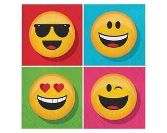 Emoji Party Napkins -Large | Emoji Birthday Party Paper Napkin Emoji Party Supplies Birthday Emoji Party Emoji Emoticon Social Media Emojis