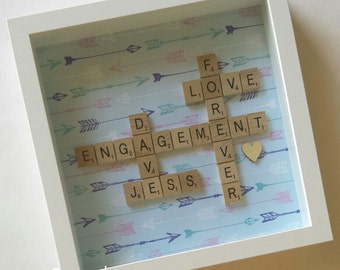 Personalised Scrabble Wall Art - Wedding Engagement Name Frame Gift