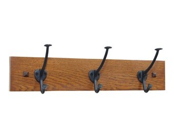 """18"""" Narrow Mission Wall Coat Rack with 3 Cast Iron Hooks"""