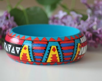 Handpainted wooden bracelet. Four Aztec pattern. Hand-painted wooden bangles maya pattern