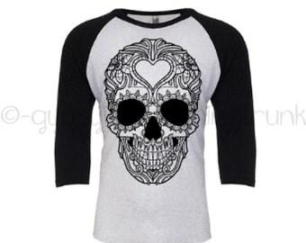 Sugar Skull Long Sleeve Shirt - Sugar Skull Shirt - Gypsy Shirt- Hippie Shirt - Black Skull Shirt - Raglan Shirt - Festival Shirt