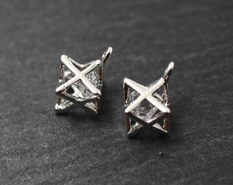 P0192/Anti-Tarnished Rhodium Plating Over Brass+Cubic zirconia/Star Cubic Pendant/8.5 x7.5mm/2pcs