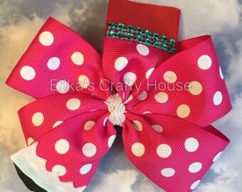 Pencil Hair Bow, pencil bow, back to school hair bow, pinwheel bow, pencil bow. Polka dot pencil