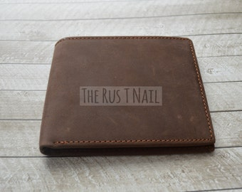 FREE SHIPPING - Distressed Genuine Leather Wallet - Rugged Billfold - Dark Brown