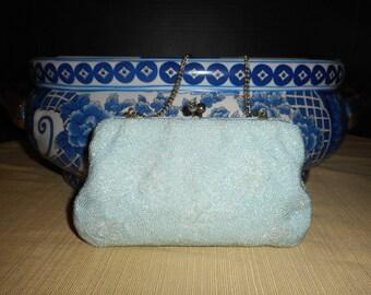VINTAGE MAGID Hand Made 8 x 4.5 x 1.5  Beaded Blue Evening Bag