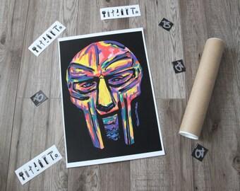 """rap poster MF DOOM 11,7"""" x 16,5"""" ,rap. hip hop poster. art prints. art deco. wall art. abstract art. hip hop art. rap poster. rap posters"""