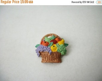 ON SALE Vintage Colorful Fruit Basket Plastic Pin 1094