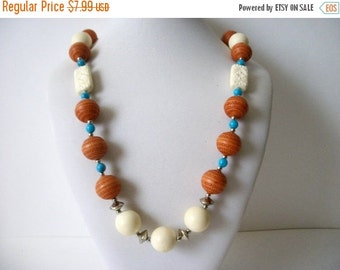 ON SALE Vintage Southwestern Cream White Silver Turquoise Rust Plastic Wood Necklace 61416