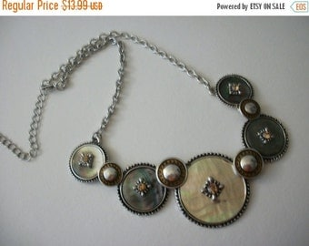 ON SALE Vintage Abalone Shell Rhinestones Two Tone Necklace 72816