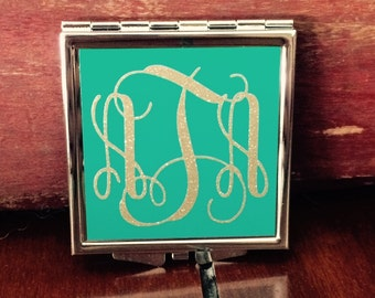Monogrammed or Customized Compact Purse Mirror