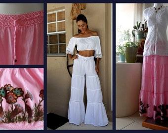 "Hand Painted Organic Cotton 3 Stages Crochet Waist Band ""Gitana"" Flare Pants"