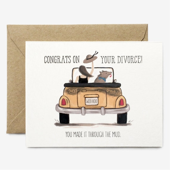 Funny Divorce Card // Congrats Witty Whimsical By